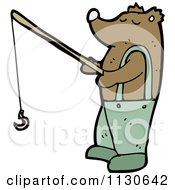 Cartoon Of A Fishing Bear Royalty Free Vector Clipart