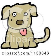 Cartoon Of A Sitting Dog 3 Royalty Free Vector Clipart by lineartestpilot