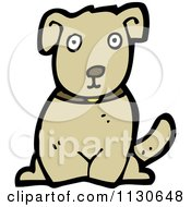 Cartoon Of A Sitting Dog 4 Royalty Free Vector Clipart