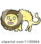 Cartoon Of A Scared Lion Royalty Free Vector Clipart by lineartestpilot