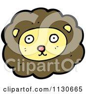Cartoon Of A Lion Face 4 Royalty Free Vector Clipart