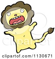 Cartoon Of A Screaming Lion Royalty Free Vector Clipart by lineartestpilot