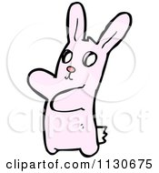 Cartoon Of A Waving Pink Rabbit 3 Royalty Free Vector Clipart