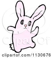 Cartoon Of A Waving Pink Rabbit 1 Royalty Free Vector Clipart