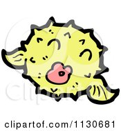 Cartoon Of A Yellow Puffer Fish 2 Royalty Free Vector Clipart by lineartestpilot