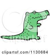 Cartoon Of A Green Crocodile 3 Royalty Free Vector Clipart