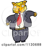 Cartoon Of A Chubby Business Cat In A Suit Royalty Free Vector Clipart