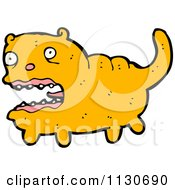 Cartoon Of A Scared Fat Orange Cat Royalty Free Vector Clipart