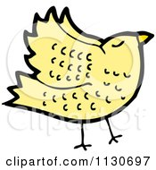 Cartoon Of A Yellow Bird 3 Royalty Free Vector Clipart