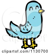 Cartoon Of A Blue Pigeon Royalty Free Vector Clipart