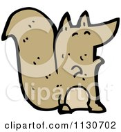 Cartoon Of A Brown Squirrel 2 Royalty Free Vector Clipart by lineartestpilot