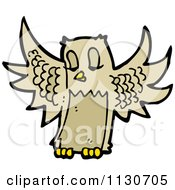 Cartoon Of A Flying Owl Royalty Free Vector Clipart