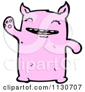 Cartoon Of A Cute Waving Pink Monster Royalty Free Vector Clipart by lineartestpilot