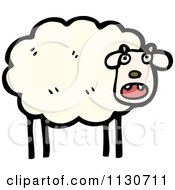Cartoon Of A Scared Sheep Royalty Free Vector Clipart by lineartestpilot