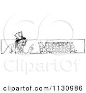 Clipart Of A Retro Vintage Black And White Man And Pig Border Royalty Free Vector Illustration