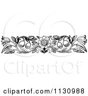 Clipart Of A Retro Vintage Black And White Floral Border 5 Royalty Free Vector Illustration