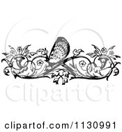 Clipart Of A Retro Vintage Black And White Floral Butterfly Border Royalty Free Vector Illustration