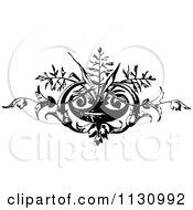Clipart Of A Retro Vintage Black And White Floral Vase Border Royalty Free Vector Illustration