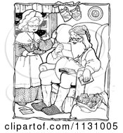 Clipart Of Retro Vintage Black And White Santa And Mrs Claus Reading Letters Royalty Free Vector Illustration