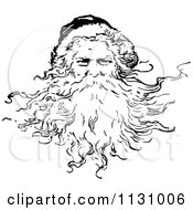 Clipart Of A Retro Vintage Black And White Santa With A Beard Royalty Free Vector Illustration