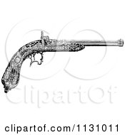 Clipart Of A Retro Vintage Black And White Feminine Pistol Royalty Free Vector Illustration