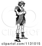 Retro Vintage Black And White Medieval Man With Folded Arms