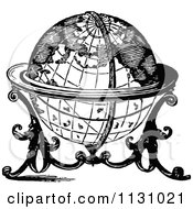 Clipart Of A Retro Vintage Black And White Globe On A Stand Royalty Free Vector Illustration