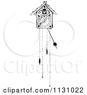 Clipart Of A Retro Vintage Black And White Cuckoo Clock Royalty Free Vector Illustration