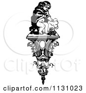 Clipart Of A Retro Vintage Black And White Child Warming By A Fire On A Face Shelf Royalty Free Vector Illustration