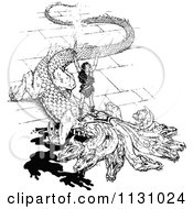 Clipart Of A Retro Vintage Black And White Dragon Slayer Royalty Free Vector Illustration by Prawny Vintage