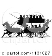 Clipart Of A Retro Vintage Silhouetted Stage Coach And Passengers 1 Royalty Free Vector Illustration