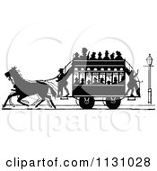 Clipart Of A Retro Vintage Silhouetted Stage Coach And Passengers 2 Royalty Free Vector Illustration by Prawny Vintage