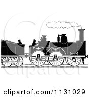 Clipart Of A Retro Vintage Silhouetted Steam Train And Workers Royalty Free Vector Illustration by Prawny Vintage