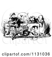 Clipart Of Retro Vintage Black And White Children At An Abc Desk Royalty Free Vector Illustration