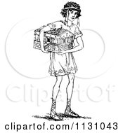 Clipart Of A Retro Vintage Black And White Boy Carrying A Toy House Royalty Free Vector Illustration