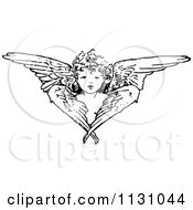 Clipart Of A Retro Vintage Black And White Cherub Angel And Wings Royalty Free Vector Illustration by Prawny Vintage #COLLC1131044-0178