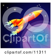 Space Shuttle Rocket Flying Past Planets And Stars In Space Clipart Illustration