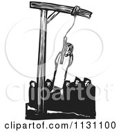 Clipart Of A Crowd Hangin A Witch Black And White Woodcut Royalty Free Vector Illustration