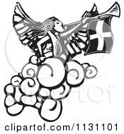 Angel Playing A Trumpet Black And White Woodcut