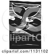 Clipart Of A Whale Tail In The Ocean Black And White Woodcut Royalty Free Vector Illustration by xunantunich