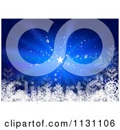Clipart Of A Blue Christmas Background With Stars Rays And Snowflakes Royalty Free Vector Illustration by dero