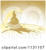 Clipart Of A Red Christmas Background With Snowflakes And A Tree Royalty Free Vector Illustration