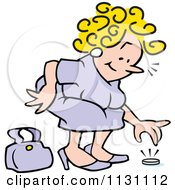 Cartoon Of A Woman Picking Up A Coin Royalty Free Vector Clipart by Johnny Sajem