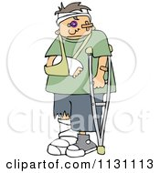 Injured Boy With A Crutch And Sling