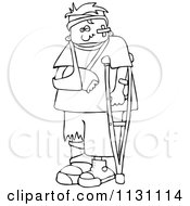 Cartoon Of An Outlined Injured Boy With A Crutch And Sling Royalty Free Vector Clipart