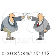 Cartoon Of Men Clanking Their Glasses In A Toast Royalty Free Vector Clipart by djart