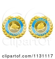 Clipart Of Blue And Gold Winner Cat And Dog Laurel Wreath Pet Award Medals Royalty Free Vector Illustration by AtStockIllustration