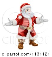 Cartoon Of A Presenting Santa Claus Royalty Free Vector Clipart