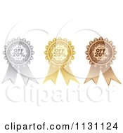 Clipart Of A Silver Gold And Bronze Twenty Percent Off Retail Sale Ribbons Royalty Free Vector Illustration by Andrei Marincas