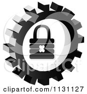 Clipart Of A Grayscale Padlock Gear Cog Icon Royalty Free Vector Illustration